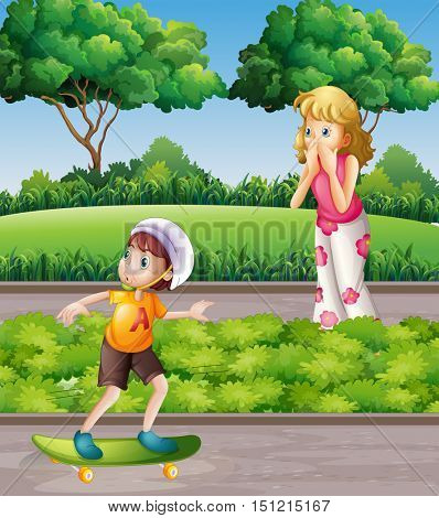 Boy on skateboard and mother in the park illustration