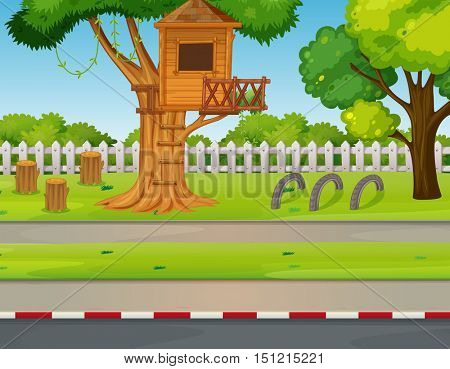 Park scene with treehouse along the road illustration