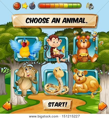 Game template with wild animal characters illustration