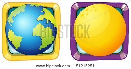 Earth and moon on square badges illustration