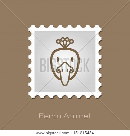 Peacock outline stamp. Animal head vector symbol eps 10