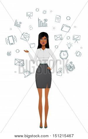 business woman Beautiful office girl. Beautiful woman