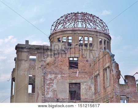 Hiroshima Peace Memorial, commonly called the Atomic Bomb Dome (Genbaku Dome). This dome was the only structure left standing in the area where the first atomic bomb exploded on 6 August 1945.