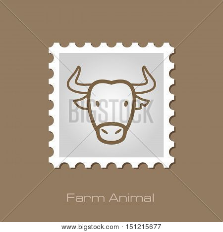 Spanish bull bison buffalo ox outline stamp. Animal horned head vector symbol eps 10