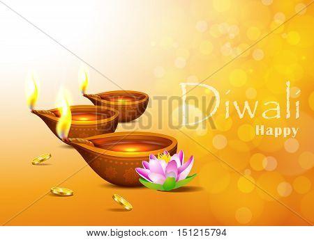 Diwali Holiday greeting card with burning di ya and lotus.