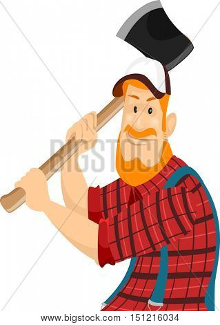 Illustration of a Bearded Caucasian Lumberjack in a Cap and Plaid Shirt Swinging an Axe