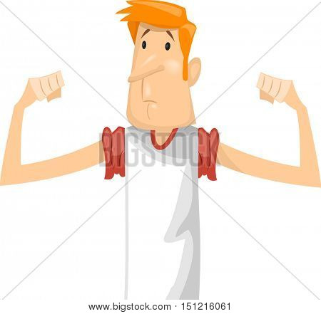 Fitness Illustration Featuring a Sad Skinny Man in a White  Shirt Disappointed Over His Lack of Muscle Bulges