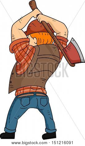 Back View Illustration of a Bearded Caucasian Lumberjack in a Cap and Plaid Shirt Preparing to Chop Wood
