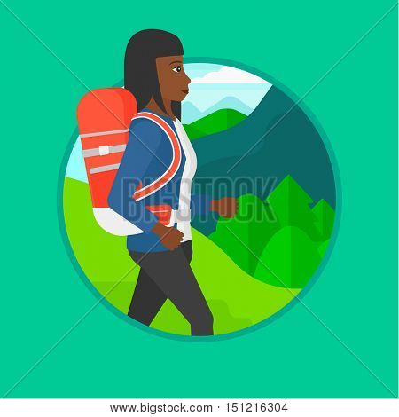 An african-american young woman hiking in mountains. Traveler with backpack mountaineering. Woman with backpack walking outdoor. Vector flat design illustration in the circle isolated on background.