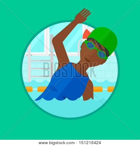 An african-american young sportswoman in swimming cap and glasses swimming in pool. Professional female swimmer in swimming pool. Vector flat design illustration in the circle isolated on background.