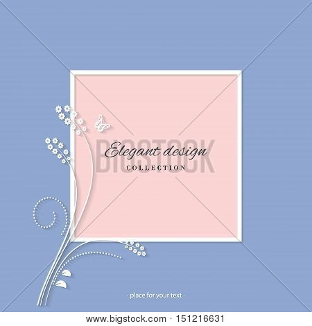 Elegant card template with paper cutout floral elements. For wedding invitation greeting card beauty industry brochures design.