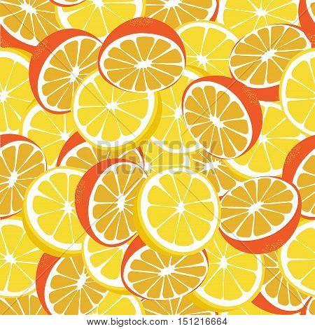 Lemon and orange lemonade seamless vector pattern. Lemonade green seamless background.