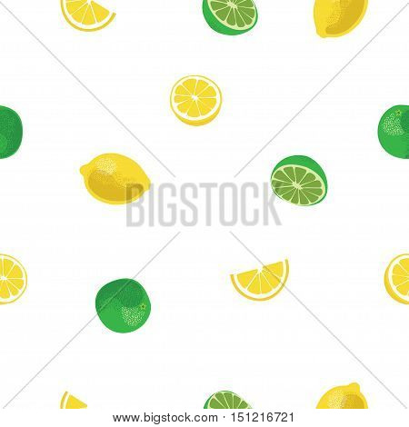 Lemon and lime lemonade seamless vector pattern. Lemonade white seamless background.