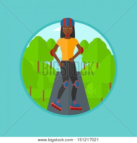 An african-american young woman on roller-skates in the park. Sports woman in protective sportwear on rollers skating outdoors. Vector flat design illustration in the circle isolated on background.