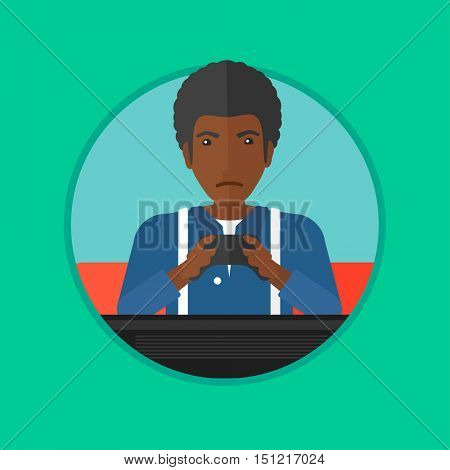 An african-american man playing video game on the television. Tired gamer with console in hands. Concept of addiction to games. Vector flat design illustration in the circle isolated on background.