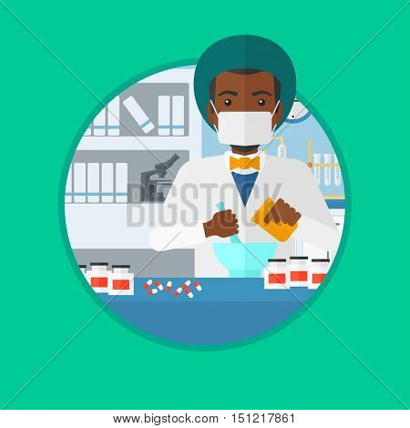 An african-american male pharmacist using mortar and pestle for preparing medicine in the laboratory. Pharmacist mixing medicine. Vector flat design illustration in the circle isolated on background.