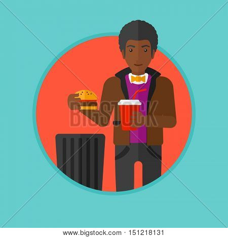 An african man putting junk food into trash bin. Man refusing to eat junk food. Man rejecting fast food. Man throwing junk food. Vector flat design illustration in the circle isolated on background.