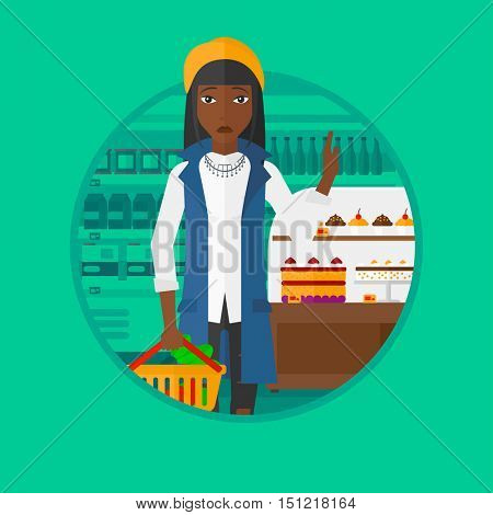 An african-american woman holding basket with healthy food. Woman choosing healthy food and rejecting junk food in supermarket. Vector flat design illustration in the circle isolated on background.