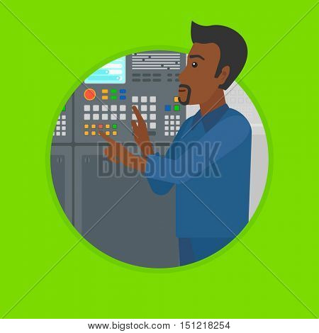 African-american man working on control panel. Man pressing button on control panel. Engineer standing in front of control panel. Vector flat design illustration in the circle isolated on background.
