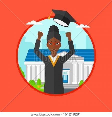 An african graduate in cloak and graduation hat throwing up her hat. Graduate celebrating on a background of educational building. Vector flat design illustration in the circle isolated on background.