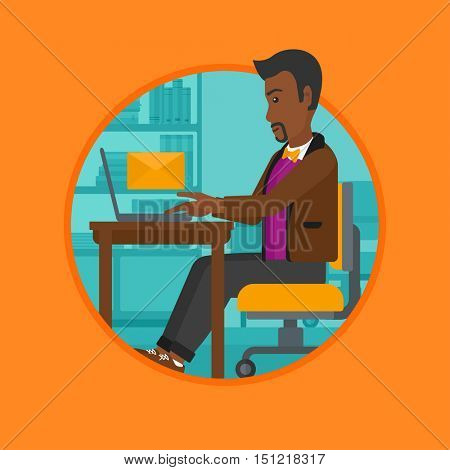 An african-american businessman working on laptop in office and receiving or sending email. Business technology, email concept. Vector flat design illustration in the circle isolated on background.
