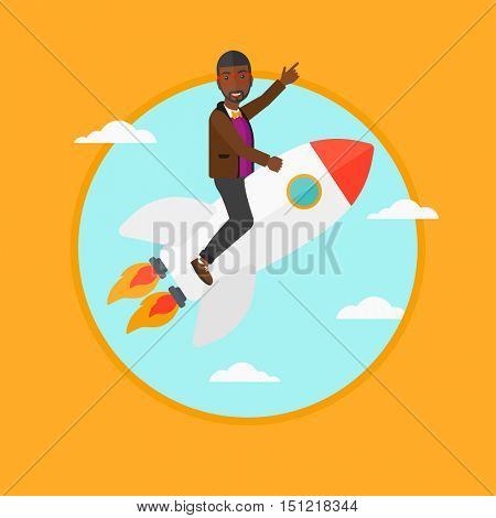 An african-american businessman flying on the business start up rocket and pointing his forefinger up. Business start up concept. Vector flat design illustration in the circle isolated on background.