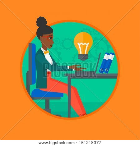 An african-american business woman working on laptop in office. Woman having business idea. Successful business idea concept. Vector flat design illustration in the circle isolated on background.
