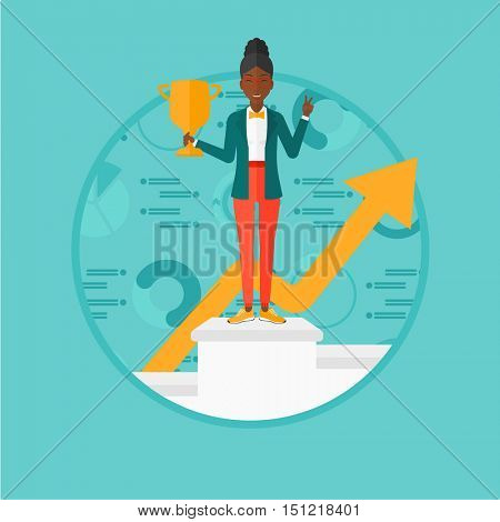 African business woman standing on a pedestal with winner cup. Business woman celebrating business award. Business award concept. Vector flat design illustration in the circle isolated on background.