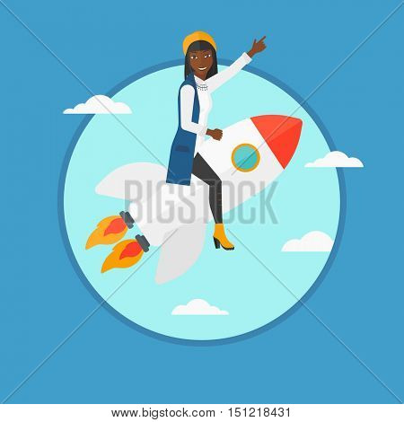 An african-american business woman flying on business start up rocket and pointing forefinger up. Business start up concept. Vector flat design illustration in the circle isolated on background.