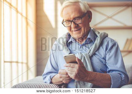 Handsome Old Man At Home
