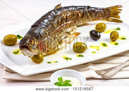 Grilled trout with olive on plate, close up