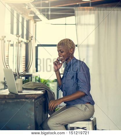 African Businesswoman Laptop Planning Strategy Working Concept