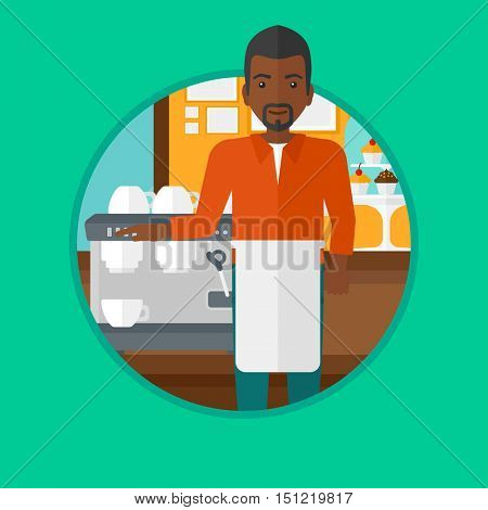 African-american barista sanding in front of coffee machine. Barista at coffee shop. Professional barista making a cup of coffee. Vector flat design illustration in the circle isolated on background.