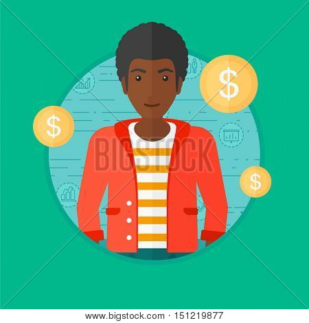 African-american businessman standing on a blue background with business icons and dollar gold coins. Business success concept. Vector flat design illustration in the circle isolated on background.