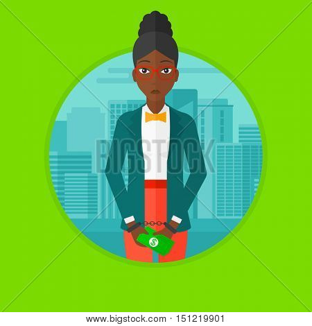 An african-american sorrowful business woman standing in handcuffs with money in hands on a city background. Corruption concept. Vector flat design illustration in the circle isolated on background.