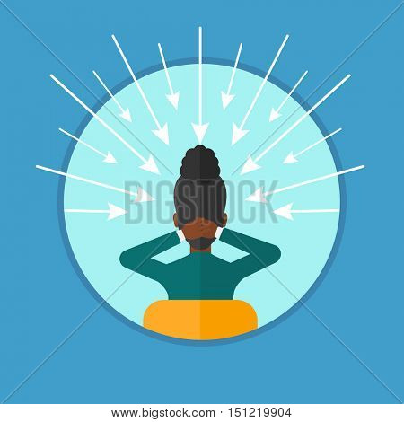 Rear view of an african-american woman with some arrows poinded to her head. Woman choosing carrer way. Concept of career choice. Vector flat design illustration in the circle isolated on background.