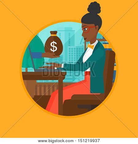 An african-american young business woman sitting in office and a bag of money coming out of her laptop. Online business concept. Vector flat design illustration in the circle isolated on background.