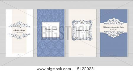 Vintage card templates. For wedding invitations elegant greeting cards beauty industry brochures design. Damask seamless pattern included in swatches.