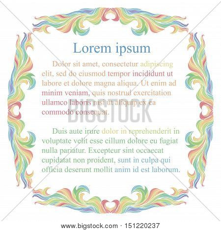 Colorful vintage rainbow frame with place for text.