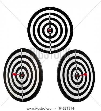 three targets with darts in center isolated on white background