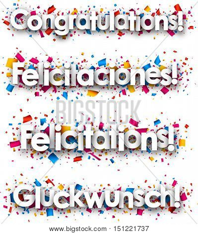 Congratulations paper banners, Spanish, French, German. Vector illustration.