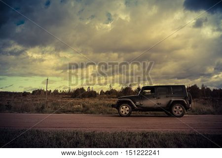 Novgorod region, Russia, October 5, 2016, off-road jeep expedition to the villages of the Novgorod region, the Jeep Wrangler is a compact four wheel drive off road and sport utility vehicle