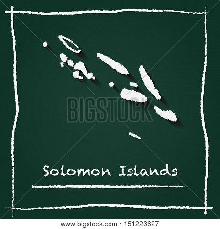 Solomon Islands Outline Vector Map Hand Drawn With Chalk On A Green Blackboard. Chalkboard Scribble
