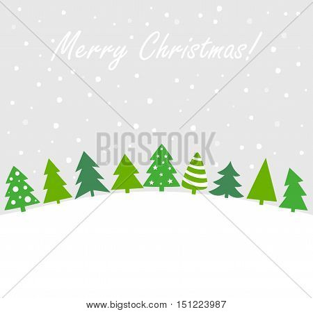 Christmas trees winter landscape background. Vector illustration