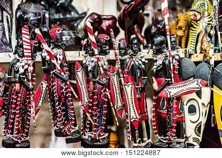 beautiful handmade wooden painted figures Masai at Zanzibar market, Africa