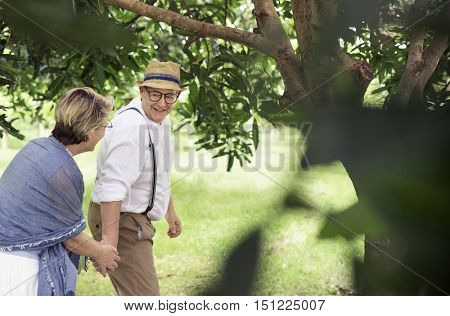 Elderly Couple Happiness Romantic Park Concept