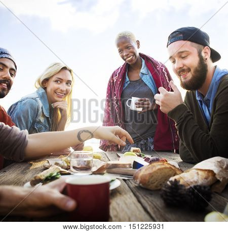 Group Of People Dining Togetherness Concept
