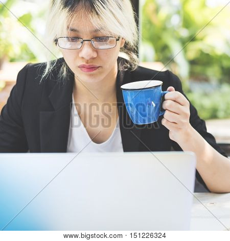 Asian Businesswoman Laptop Planning Strategy Working Concept