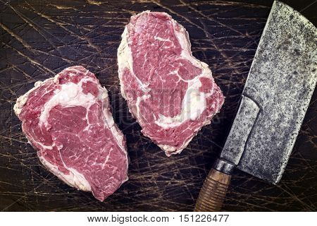 Dry Aged Entrecote Steak on old Wooden Board