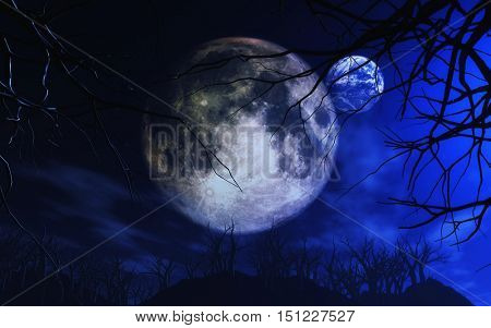 3D render of the Moon and Earth in spooky Halloween landscape